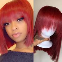 Rote Farbe Mit Pony Baby Haar Spitze Front Short Bob Perücken Gerades Brasilianisches Remy Menschenhaar