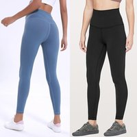 Wholesale yoga pants leggings resale online - LU Solid Color Women yoga pants High Waist Sports Gym Wear Leggings Elastic Fitness Lady Overall Full Tights Workout