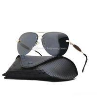 envoltorios gafas de sol envolver al por mayor-Diseñador de lujo para hombre de las gafas de sol polarizadas 2019 Conductor Tenis abrigo del metal de las lentes del deporte Hombre piloto Gafas de sol hombre logo UV400 con el caso