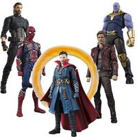 capitão estrela venda por atacado-Avengers Infinito Guerra SHFiguarts Iron Man MK50 Homem Aranha Thanos Doctor Strange Star Carga Capitão América Figura de Ação Toy Presente