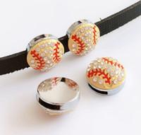 laiton sud achat en gros de-10 PCs 8 MM Strass Jaune Baseball Glissière Charmes Perles Fit 8mm Collier De Animaux Nom Ceintures Bracelets Téléphone Tags