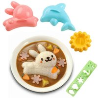 Wholesale rabbit molds for sale - Group buy 4pcs set Cartoon Dolphin Rabbit Sushi Molds Baby Rice Dough Mold Children s Lunch DIY Mold Kitchen Gadgets W9291