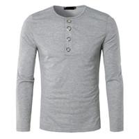 ingrosso maglione lungo del manicotto-Moda Uomo con scollo a V Button manica lunga Casual Fit Pollover Shirt Solid Mens maglione lavorato a maglia Autunno Botton Solid Slim Top 2019