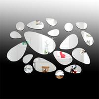 televisores espejo al por mayor-TV de fondo Etiqueta de La Pared Espejo Dormitorio Estereoscópico Pasta Restaurante Decorar Espejos A Prueba de Agua Eco Friendly Venta Directa de Fábrica 8ym C1