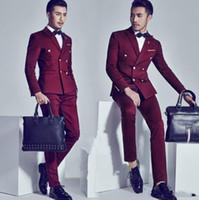 erkek beyler ceketi toptan satış-İş Moda Erkek Kruvaze Takım Elbise Sözleşmeli Beyefendi Erkek Resmi Takım Elbise Yakışıklı Damat Suits (Ceket + Pantolon)
