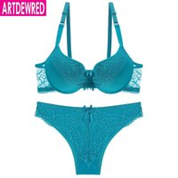 ingrosso 34 bras-Reggiseno sexy Set donne popolari Lingerie BC Cup Push Up Brasier Lace Bralette Set reggiseno blu per le donne Set intimo