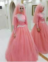 pembe uzun islami elbiseler toptan satış-Arapça pembe Müslüman Gelinlik 2019 Türk Gelinlik Dantel Aplike yüksek boyun İslam Gelin Elbiseler ucuz Uzun Kollu Gelinlikler