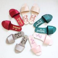 обувь для невесты оптовых-Горячих продажи Розовой Бордовая невеста тапочки Свадебных Шлепанцев душ партия подарок горничной честь подарки фрейлины невесты обуви дешевой