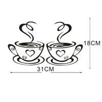 ingrosso decorazione della parete del caffè della cucina-adesivi murali decorazioni per la casa Rimovibile Cucina fai da te Decor Coffee House Cup Decalcomanie Adesivo da parete in vinile muurstickers pegatinas de pared