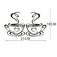 café copo copo venda por atacado-Adesivos de parede decoração da casa Removível DIY Decoração Da Cozinha Coffee House Cup Decalques Adesivos de Parede de vinil muurstickers pegatinas de pared