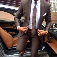 nueva moda para novio esmoquin al por mayor-Los nuevos hombres de moda esmoquin del novio del juego de los padrinos de juegos formales de los hombres de negocios de desgaste (chaqueta + pantalones) Dos Piezas boda Bestman desgaste SU0065