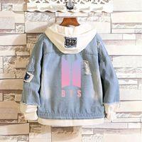 kpop jeans großhandel-BTS Kpop Love Yourself Denim Jean Stitching Jacke Mantel Harajuku Bangtan Boy Kleidung Fans Frühling Herbst Hoodies BTS Zubehör