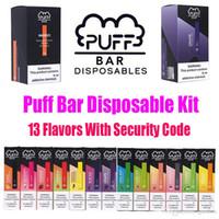oled e cig venda por atacado-New Puff Bar descartável Pod Starter Kit 280mAh bateria com Cartucho 1,3ml Dispositivo Pods Vape Pen 13 Flavors vazio com código de segurança