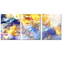 ingrosso pezzo colorato tela di canapa-3 pezzi astratti nuvole colorate Stampe su tela semplice vita pittura moderna opera d'arte per pareti decorazione domestica senza cornice