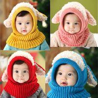 tığ işi iplikleri toptan satış-Bebek Kış Tığ Sıcak Şapka Kap Kızlar Çocuklar Sevimli El Yapımı örgü Tığ Yün ipliği kapaklar sevimli köpek şekli kulak isıtıcı eşarp bere şapka