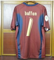 camiseta copa mundial de fútbol italia al por mayor-2006 World Cup Italy buffon goalkeeper Retro Soccer Jersey Retro Pirlo inzaghi Cannavaro 06 Italia Camisetas de fútbol