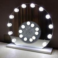 lâmpadas led usb venda por atacado-Espelho de holofotes Maquiagem Espelho Kit de Lâmpadas LED USB Porta de Carregamento Cosméticos Iluminado Maquiagem Espelhos Bulb Ajustável Brilho