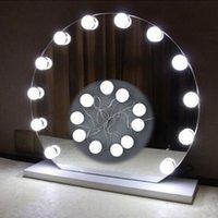 ingrosso lampadina a specchio-Luce specchio di Hollywood Specchio per trucco Kit di lampadine a LED Porta di ricarica USB Cosmetic Lighted Make up Mirrors Bulb Adjustable Brightness