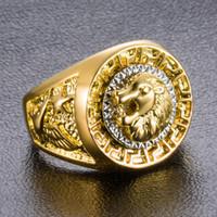 anel tier großhandel-2019 neu eingetroffen hip hop punk gold farbe tier ring löwenkopf ringe für männer frauen biker legierung metall männlichen schmuck gothic geschenk anel masculino