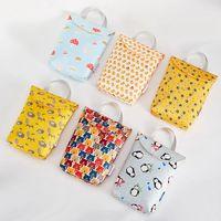 Wholesale waterproof baby cloth diapers resale online - Baby Cartoon Print Nappy Bag Protable Waterproof Reusable Wet Bag Dry Cloth Zipper Diaper Storage Handbag New TTA2049
