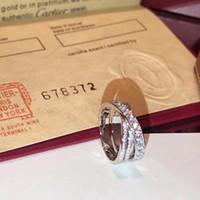 anéis de diamantes puros venda por atacado-S925 prata pura top quality paris design cruz anel com amantes de diamantes tamanho do anel para as mulheres jóias presente com logotipo ps7612