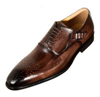 Wholesale mens handmade leather dress shoes resale online - Men Dress Shoes Cow Leather Buckle Strap Office Business Wedding Handmade Mixed Color Brogue Formal Pointed Toe Oxfords Mens Brand Shoe
