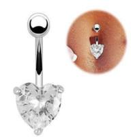 ingrosso piercing della pancia del corpo-Oro cuore strass arco penzolare ombelico ombelico bar button ring body piercing penetrare