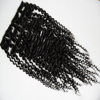 Wholesale synthetic kinky curly hair weave for sale - Group buy Salon Product Afro Kinky Curly Clip In Human Hair Extensions Brazilian Remy Hair Human Hair Natural Black Clip Ins Pieces Curly Weave