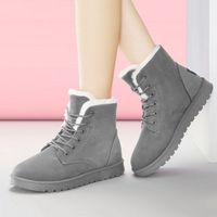 Wholesale footwear for women resale online - Plus Size Women Boots Snow Boots Female Winter Women Shoes Suede Warm Fur Ankle For Winter Shoes Lace Up Footwear