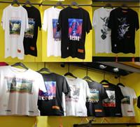 terno de filme preto homens venda por atacado-New Summer Estilo Garça Preston Doves Impresso Mulheres Homens T camisas tees Hiphop Streetwear Homens Algodão de Manga Curta camiseta 16 estilo S-XL