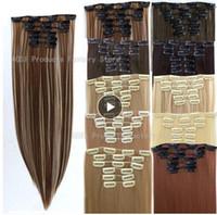 24-zoll-clip menschenhaarverlängerungen großhandel-6 stücke lange 24 zoll striaght echt dicken vollen kopf clip auf haarverlängerungen natürliche synthetische haarteile für menschen