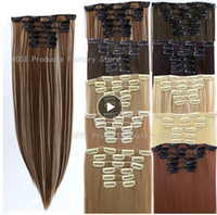 Wholesale human hair mixed synthetics for sale - Group buy 6Pcs Long inches Striaght Real Thick Full Head Clip in on Hair Extensions Natural Synthetic Hairpieces for human
