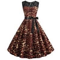 cuerpo ajustado vestidos al por mayor-Cintura alta vestido elegante ropa de verano desgaste mujeres Vintage 1950 s retro sin mangas de encaje Splice Leopard Slim Fit Body vestido de fiesta