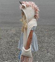 lenço lenço lenço venda por atacado-Crianças Unicórnio Malha Chapéus e Scarf 2 em 1 infantil inverno quente Knitting Beanie Caps com Tassel scaves 2em1 Kit 2020 Natal Lenço