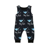 Wholesale baby children rompers resale online - summer new kids clothing letter baby shark print cotton sleeveless toddler jumpsuits children fashion rompers Animal Casual Onesie M117