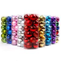 enfeites de natal bolas coloridas venda por atacado-Árvore colorida bolas Decorações de Natal Baubles Christmas Party Supplies 24pcs Ornamento Wedding / Lot 4CM 6CM 8cm EEA662