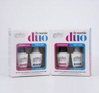 ingrosso polvere uv per unghie da 15 ml-2PCS / set più nuovo modo eccellente qualità Gelish unghie gel del chiodo si impregna fuori gel UV per unghie unghie Fondazione cappotto superiore e cappotto Base