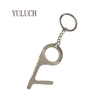 Wholesale multifunctional keychains resale online - YULUCH Unisex New Keychain Geometric Personality Metal Contactless Keychains Multifunctional Art Special Accessories