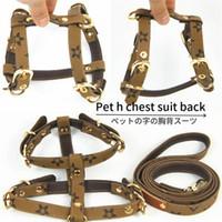 ingrosso moda alla moda-Fashion Pets Guinzagli per imbracature Set Classic Plaid in pelle Sun Flower Stampato Animali Guinzagli Prodotti di tendenza per cani di marca