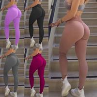 calças de treino de dança venda por atacado-Mulheres Sólidos Legging Workout Yoga Jeggings aptidão magros calças justas Gym Sports estiramento Fit formação da dança Pants Magro Capris LJJA2315 quente