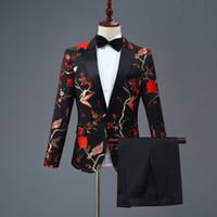 стильные мужские смокинги оптовых-Мужской пиджак новый дизайн мужской стильный вышивка королевский синий зеленый красный цветочный узор костюмы сценический певец свадебный костюм смокинг