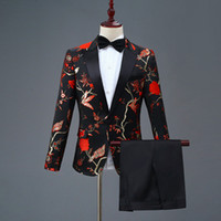 nouveaux costumes élégants achat en gros de-Hommes Blazer Nouveau Design Mens Élégant Broderie Royal Bleu Vert Rouge Motif Floral Costumes Étape Chanteur De Mariage Marié Tuxedo Costume