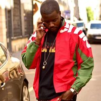 abrigo de la pista al por mayor-Línea lateral Caja 19SS Logo hombro chaqueta de chándal del logotipo de capa de los hombres de las mujeres abrigos bordado de la manera de vestir exteriores Highstreet Hip Hop HFLSJK341