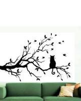 kedi duvar resmi duvar kağıdı toptan satış-Uzun Ağaç Dalı Üzerinde kedi DIY Vinil Duvar Sticker Çıkartmaları Duvar Sanat Mural Ev Dekorasyonu Pencere Mutfak Duvar Kağıdı