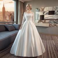 vestidos de encaje de marfil blanco al por mayor-3/4 Mangas largas Satén Una línea Vestido de novia con apliques de encaje Moda Escote redondo Vestidos de novia Blanco Marfil