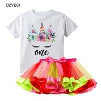 ingrosso camicie di gonne poco-Summer Unicorn Lace TUTU Dress Set per Little Baby Girl Party Outfits Kid T Shirt + Gonne 2pc Suit Bambini Arcobaleno Bow Tuta Vestiti