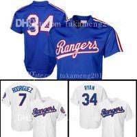 2fa4aeb2 Mens Texas Rangers Baseball Jersey 34 Nolan Ryan 7 Ivan Rodriguez Jerseys  size m-xxxl