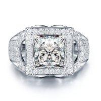 ingrosso anello solitario impostazione oro bianco-Di lusso 2ct solitario pietre laterali Moissanites Princess 4 Prong impostazione 14k oro bianco Lab Grown Diamond Ring per le donne Lady C18122701