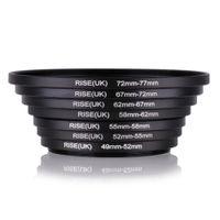 ingrosso filtri da 67 mm-7pcs metallo Step Up Rings Alluminio Universale Lens Adapter Filter Set di anelli 49-52-55-58-62-67-72-77 mm 49mm-77mm