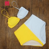 ingrosso swimwear giallo bikini-2019Sexy Push Up Bikini Ins Yellow White Tong Legato Retro a vita alta Designer brasiliano donne Costume da bagno Beach Bathing Swimwear